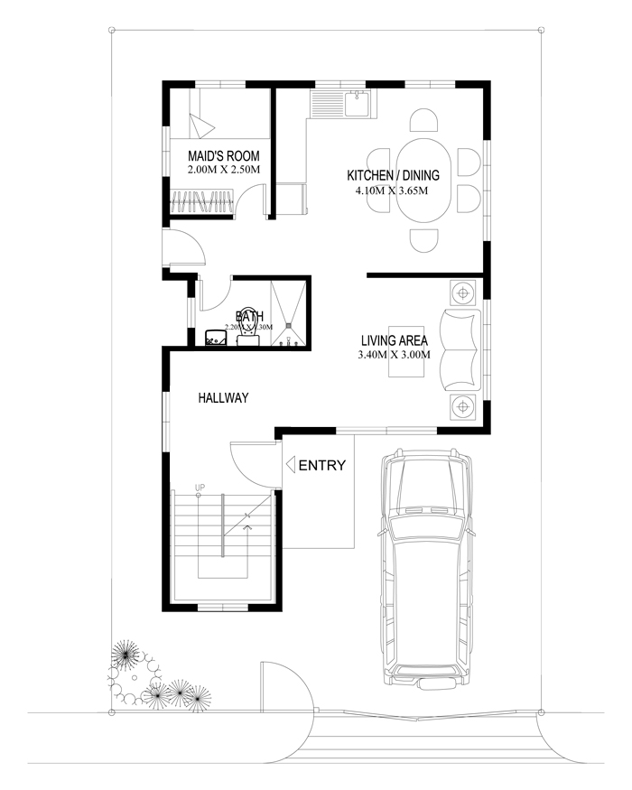 Two story house plans series php 2014004 for 2 bedroom ground floor plan