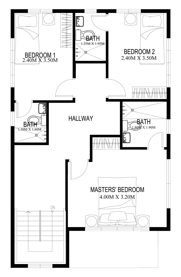 Two story house plans series php 2014004 for 2 bedroom layout design