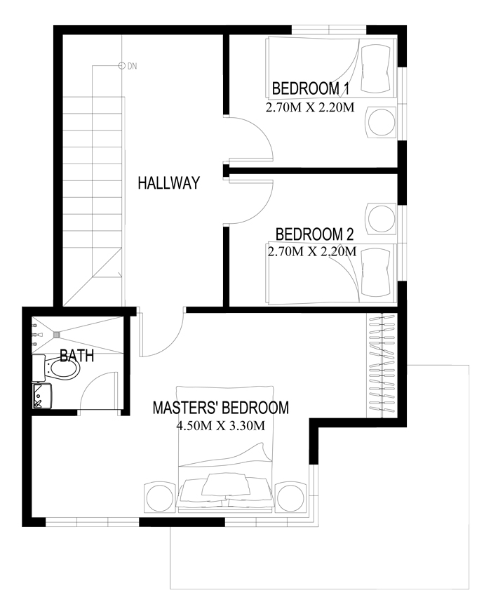 Two story house plans series php 2014003 for 2nd floor house design