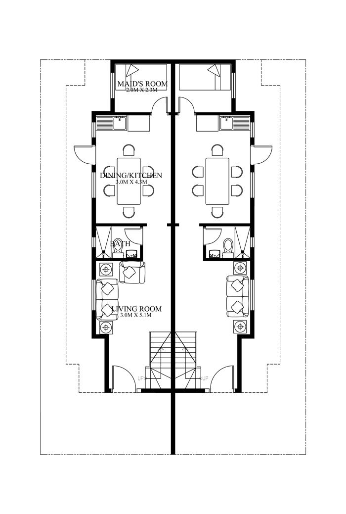 Duplex House plans Series PHP    Pinoy House Plansduplex house plans PHP   ground floor plan