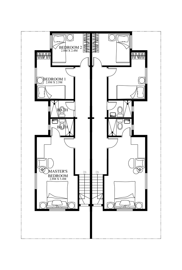 Duplex house plans series php 2014006 for Narrow duplex plans