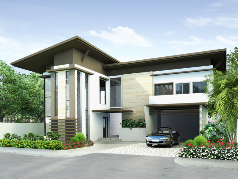modern house plans php2014009 perspective - Modern House Plan