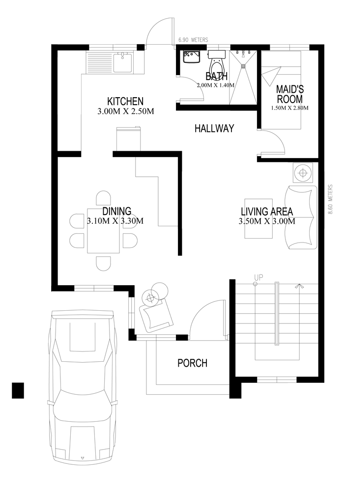 Two Storey Houseplans 2014005 Ground Floor Plan