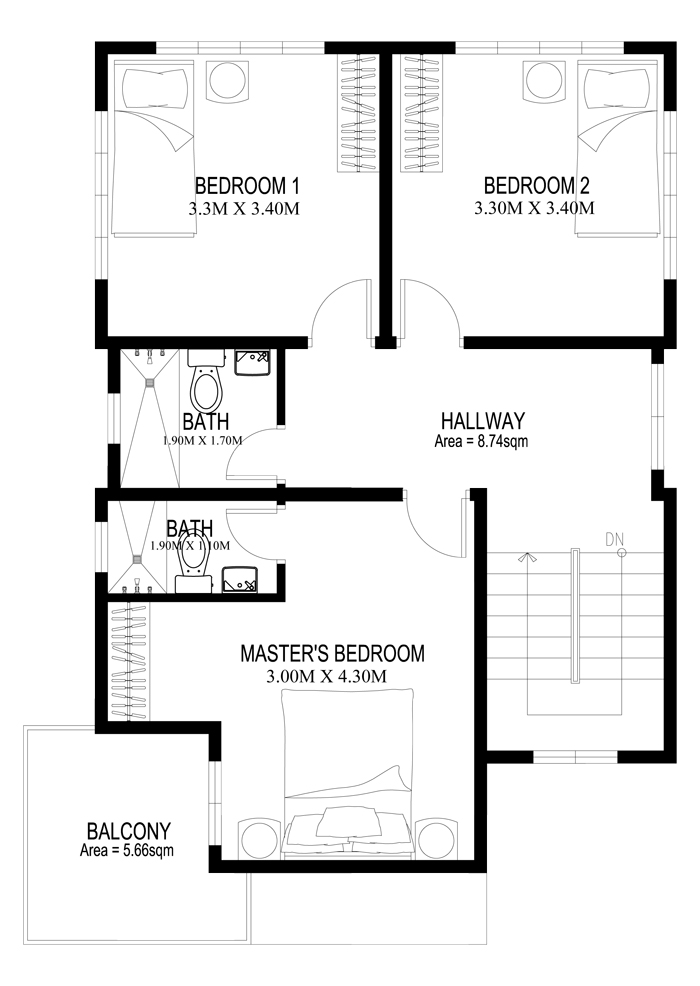 Two story house plans series php 2014005 for Upstairs floor plans