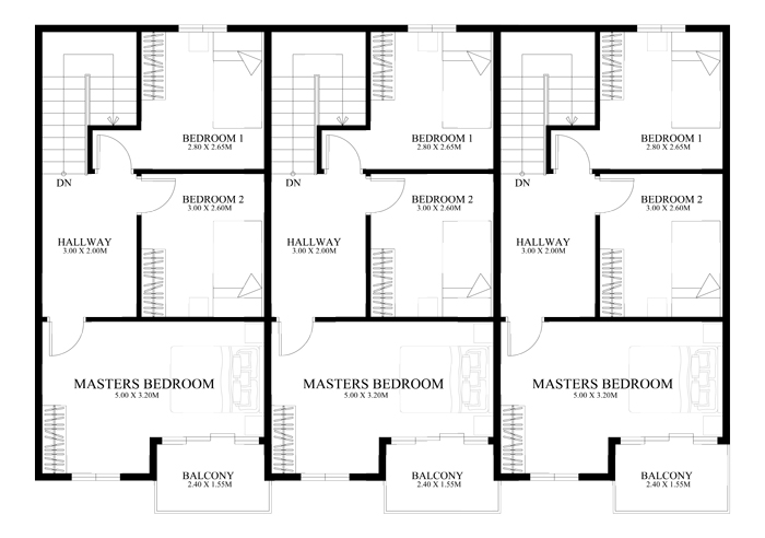 Townhouse plans series php 2014010 for Townhouse layout 3 bedrooms