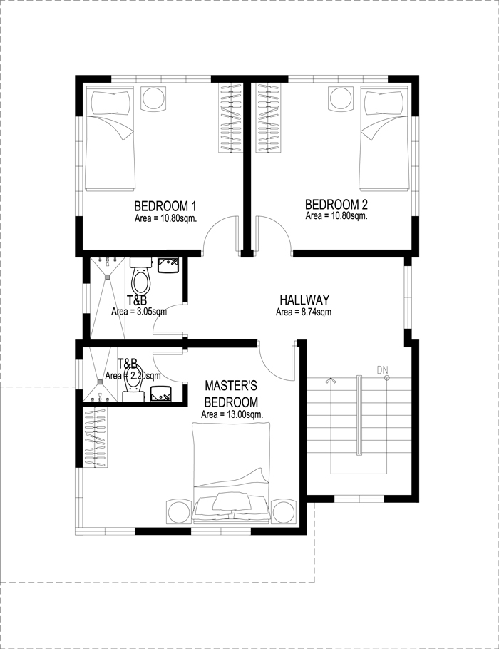 Two story house plans series php 2014007 for Two storey house design with floor plan