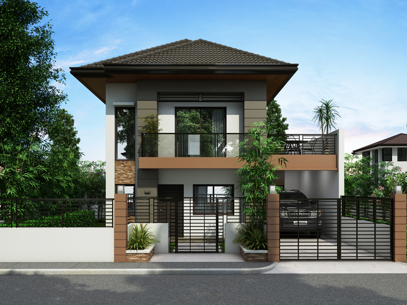 two storey house design with terrace on two story narrow house plans