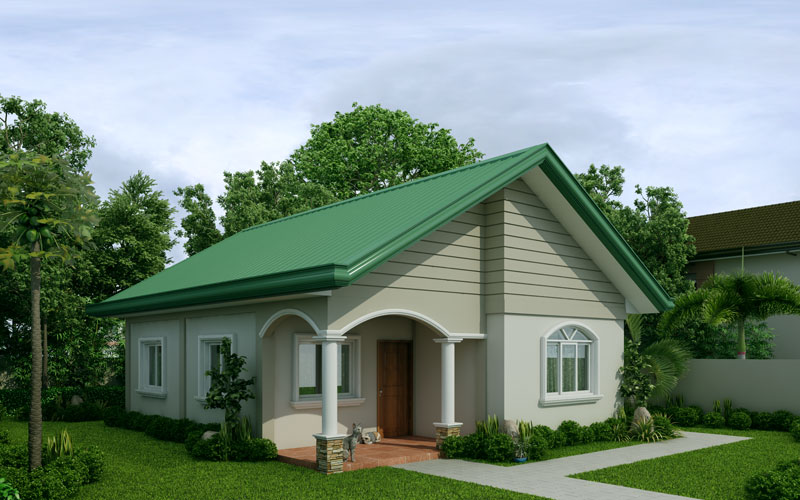 Mariedith 2 bedroom contemporary house plan for Simple roof design house plans
