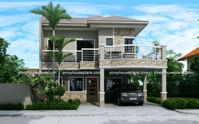 Evelyn two story house plan with firewall for 2nd floor house design in philippines