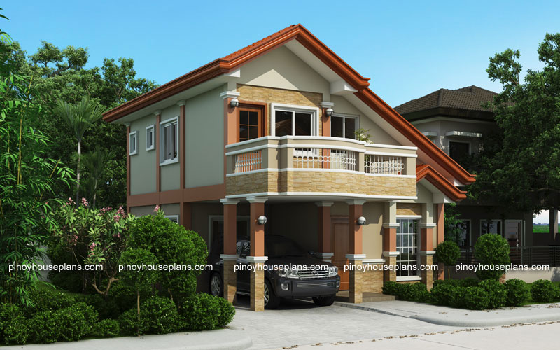 Php 2015021 two storey house plan with balcony pinoy for 2 storey small house design