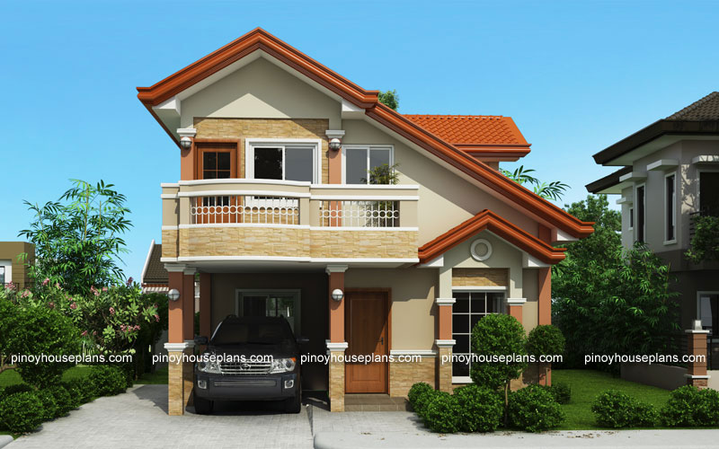 Php 2015021 two storey house plan with balcony pinoy for 2nd floor house design in philippines