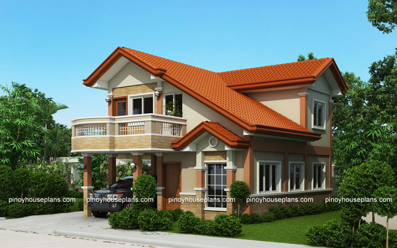 Php 2015021 two storey house plan with balcony pinoy Two story house plans with balcony
