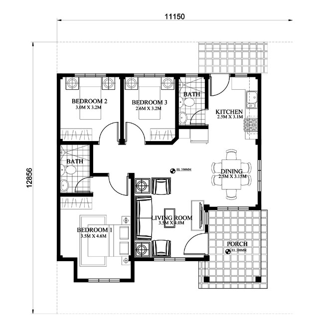 PHP-2015022, Small Efficient House plan with Porch - Pinoy House Plans