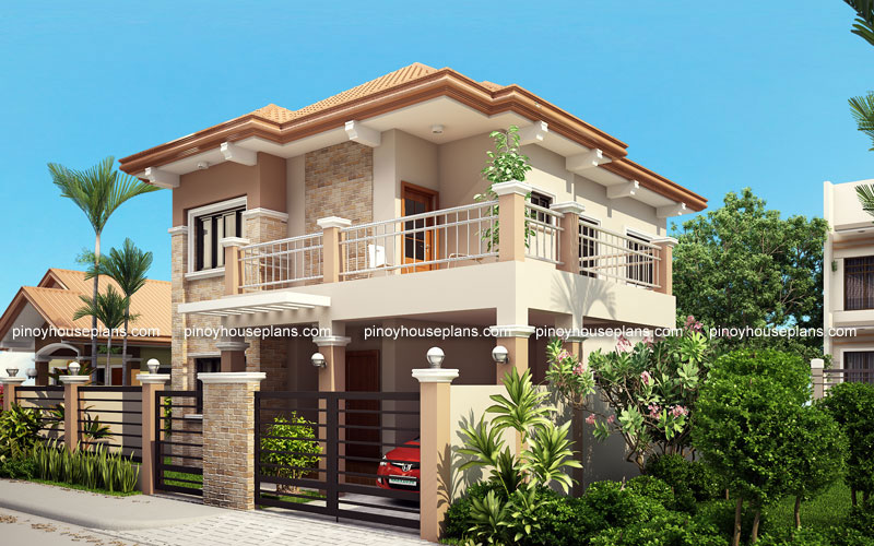 Php 2015023 four bedroom two storey contemporary for Four bedroom double storey house plan