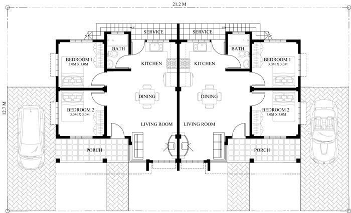 Conchita 2 bedroom duplex house plan for House floor plan with roof deck