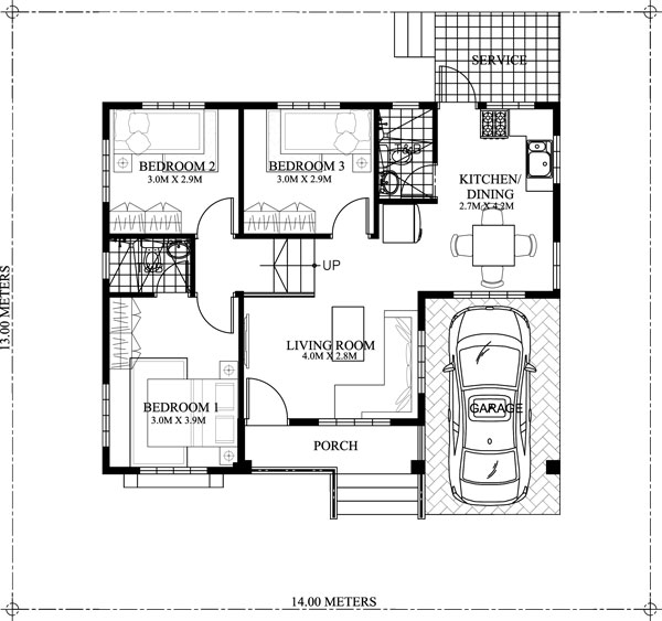 One story small home plan with one car garage pinoy for 2 bedroom house plans with attached garage