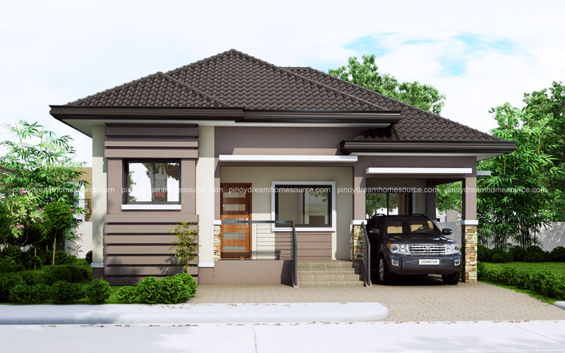 One story small home plan with one car garage pinoy for Small house plans with 2 car garage
