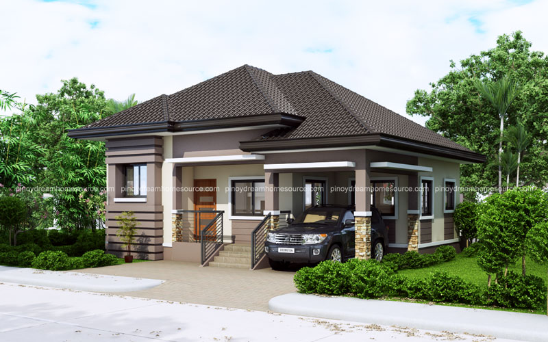 One story small home plan with one car garage pinoy for One story house design in the philippines
