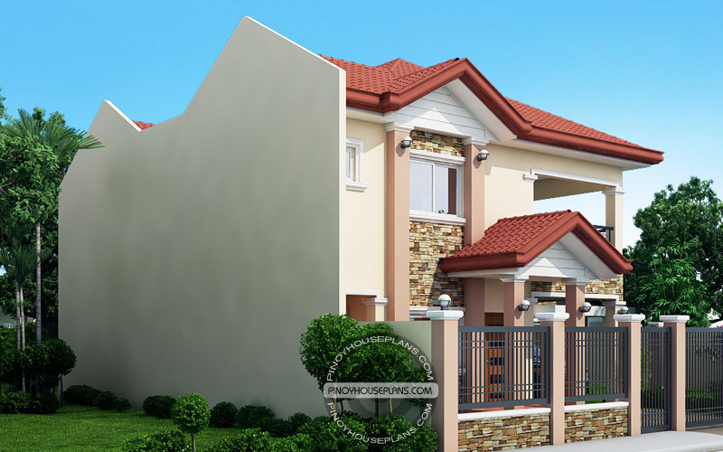 PHP 2017039 2S Florante Model View01 - 39+ Small Two Storey House Design With Firewall PNG