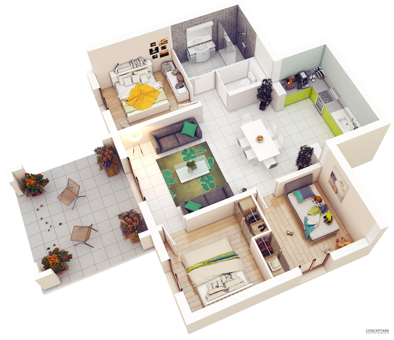 Concept 3D floor plans in different layout