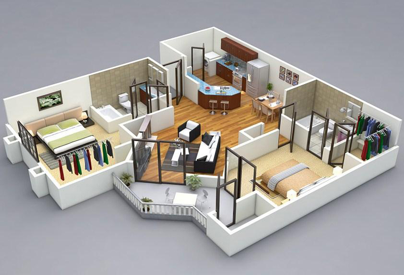 Concept 3D Floor Plans In Different Layout For One Story And 2 Story House  Ideas. Complete With Materials For Floors And Walls, Furnitures.