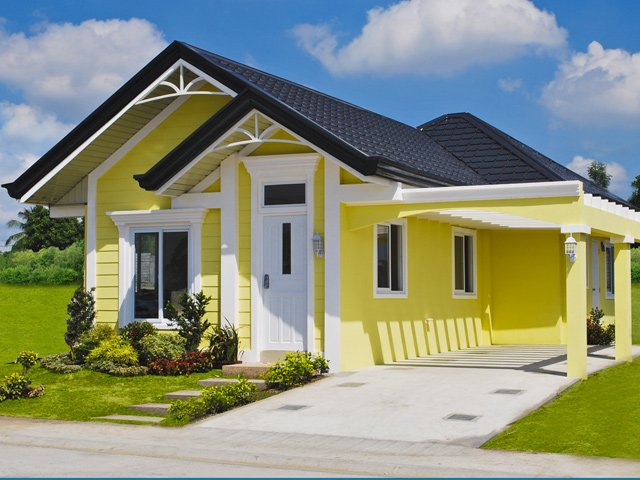 Interiors Below Are Actual Photos Of The Model Bungalow House Design To Be Colorful Living Area Is A Combination Red Yellow And Green Colors