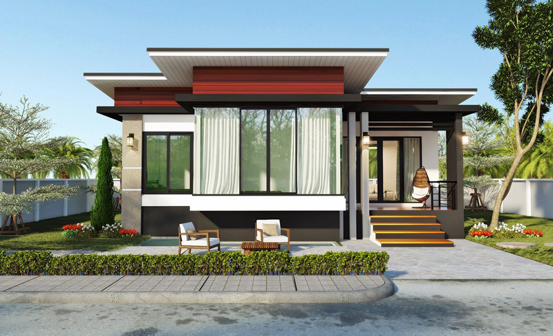 Modern 2 bedroom single story house pinoy house plans for Single story 4 bedroom modern house plans