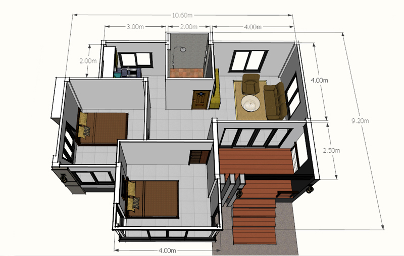 Modern 2-Bedroom Single Story House - Pinoy House Plans