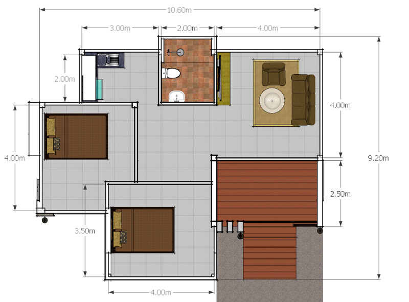 Modern 2 bedroom single story house pinoy house plans for 2 story 8 bedroom house plans