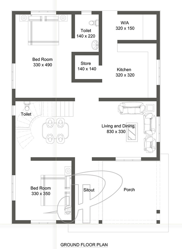 Now Lets Go Into Details With The Floor Plan Below. The Ground Floor Plan,  Consist Of The Porch, Sit Out, Living Room, The 2 Bedrooms, Dining, ...
