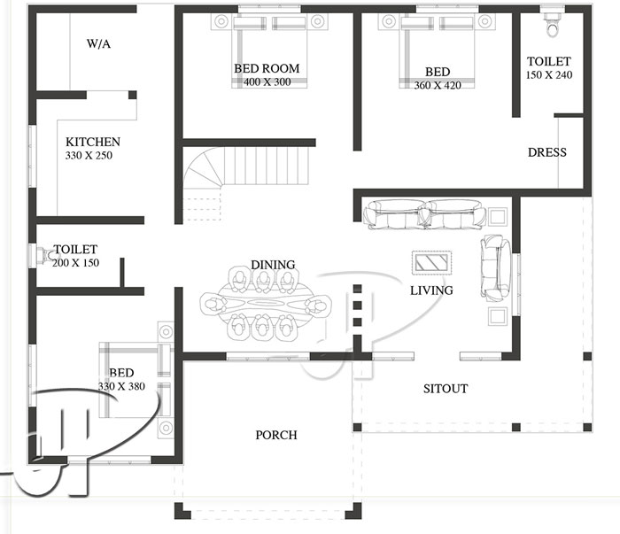 three bedroom minimalist house plan