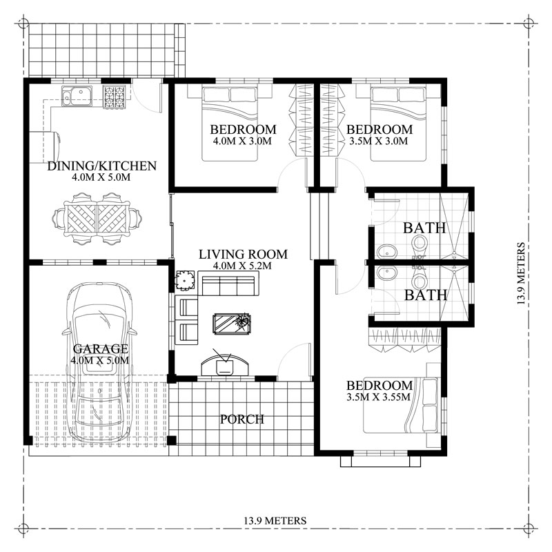 Bungalow House Plan with Three Bedrooms