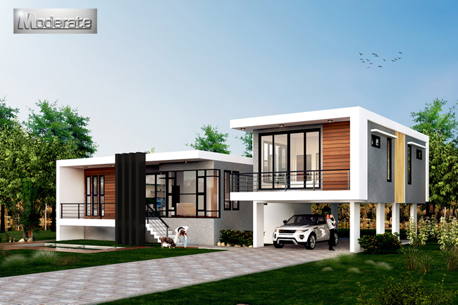 Modern Style Single Storey House With Underground Garage And Storage Area