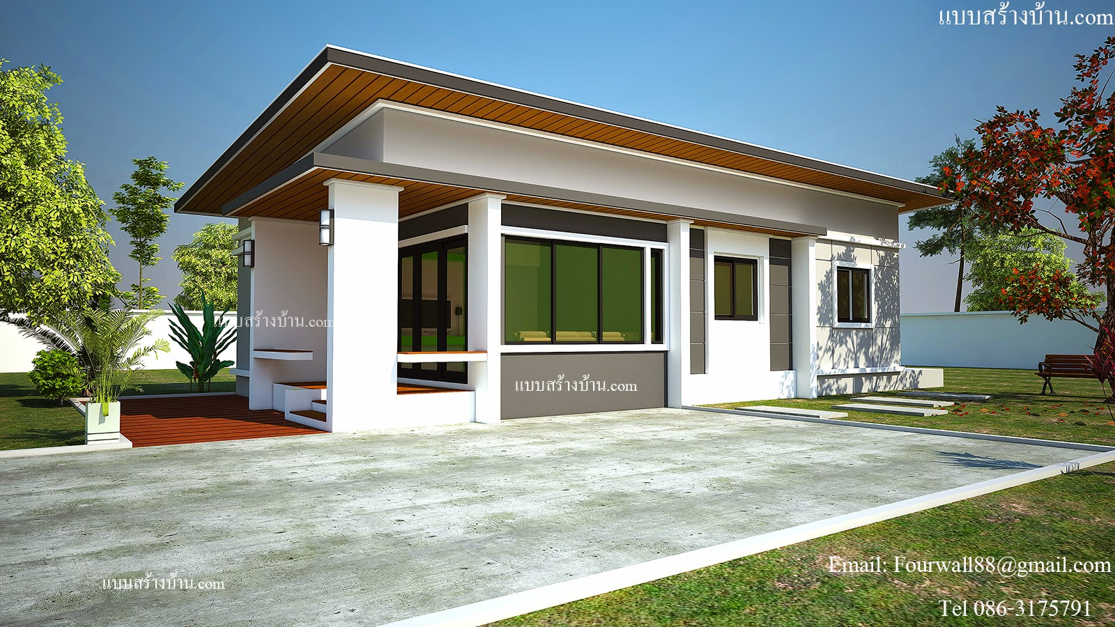 This modern single-storey house has three bedrooms and is fully customisable. [Image Credit: Home Builders]