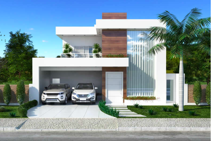 This two-storey house plan has a clean facade and multiple rooms. [Image Credit: Kerala Home]