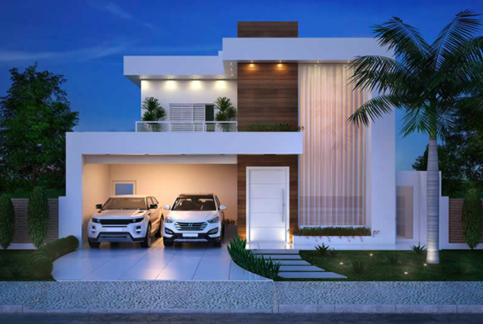 This Is Modern Two Storey House Designs Comfortable: Luxurious And Modern Two-Storey House Plan With Clean Facade
