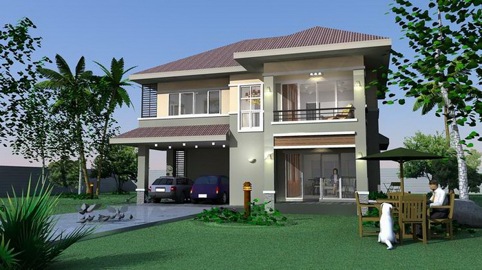 This modern and contemporary home has four bedrooms. [Image Credit: Naibann]