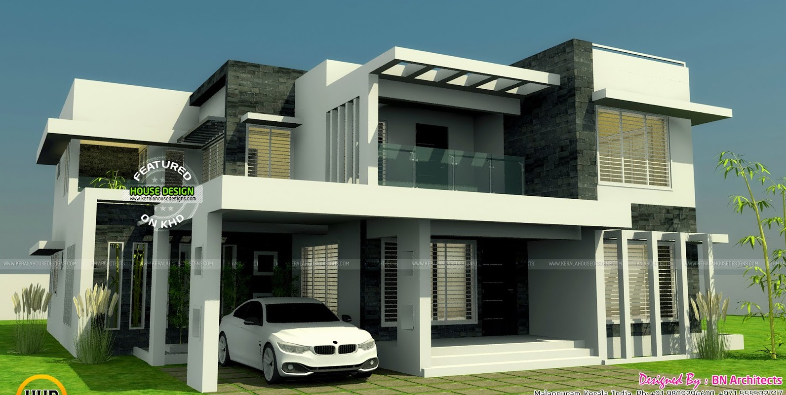 Modern two storey house with three bedrooms and three - Modern home designs and floor plans ...
