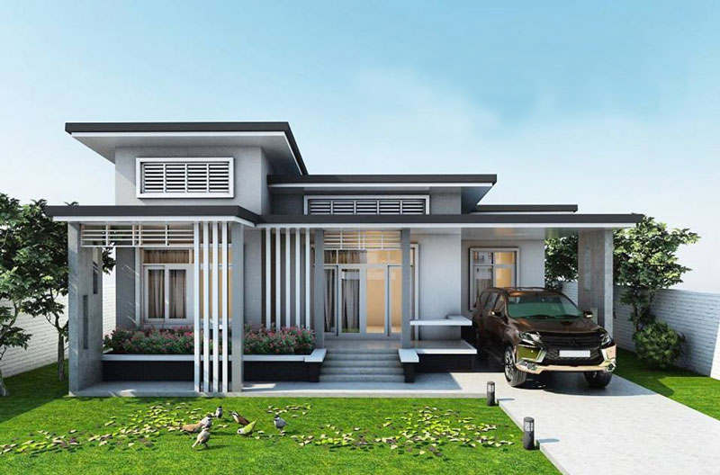One Story House Plan with 3 Bedrooms and 129 Sq m Area