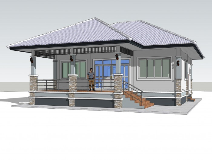 One Storey Elevated House Concept With 2 Bedrooms Pinoy