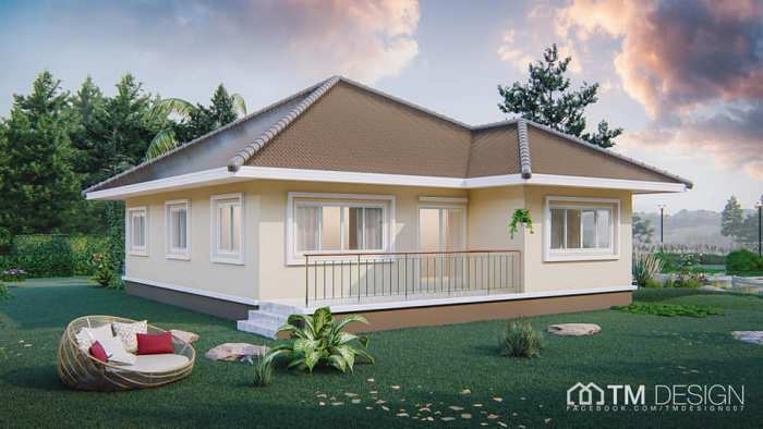 Stunning Square Shaped Bungalow With A Pyramid Hip Roof Pinoy House Plans