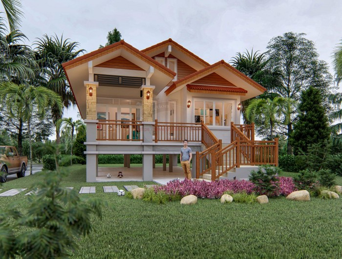 Elevated One Storey House Design With Impressive Multi Level Gable Roof And Staircase Pinoy House Plans