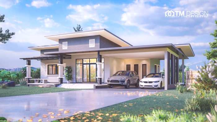 Modern And Contemporary Designs Differentiated In This Awesome Three Bedroom Bungalow With A Spacious Carport And Veranda Pinoy House Plans
