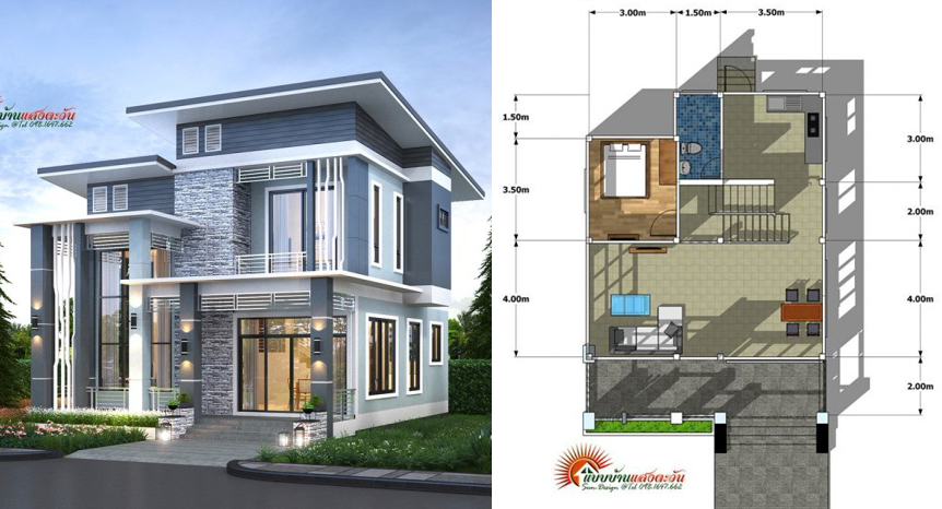 Modern two-storey with four bedrooms - Pinoy House Plans