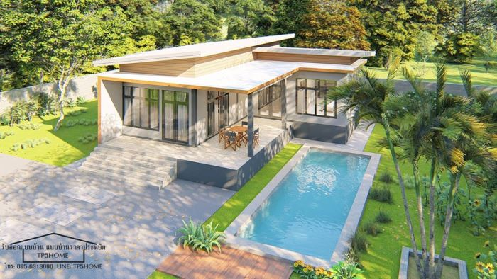 Three Amazing Bungalow Designs With, Small Home Plan With Swimming Pool