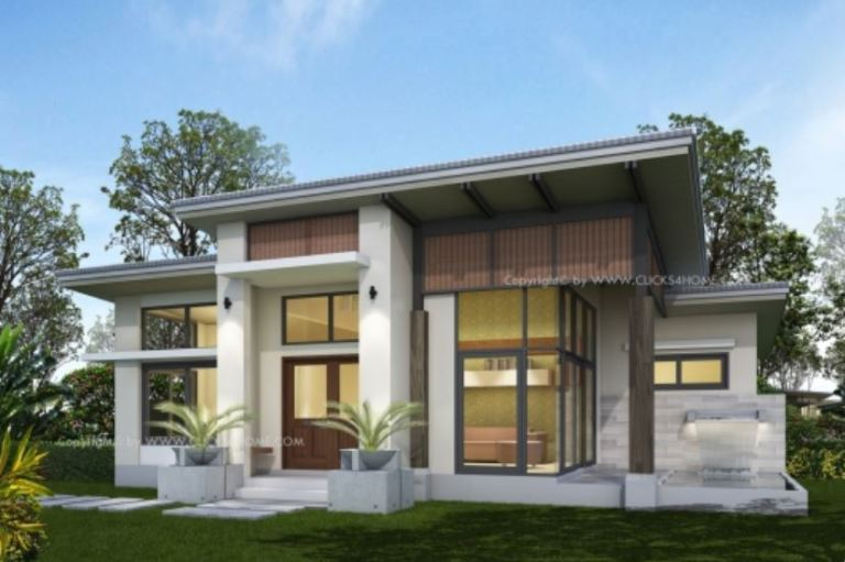 Modern Two Bedroom Bungalow With Terrace And Pool Pinoy House Plans